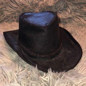 Vtg FP genuine leather cowboy hat boho
